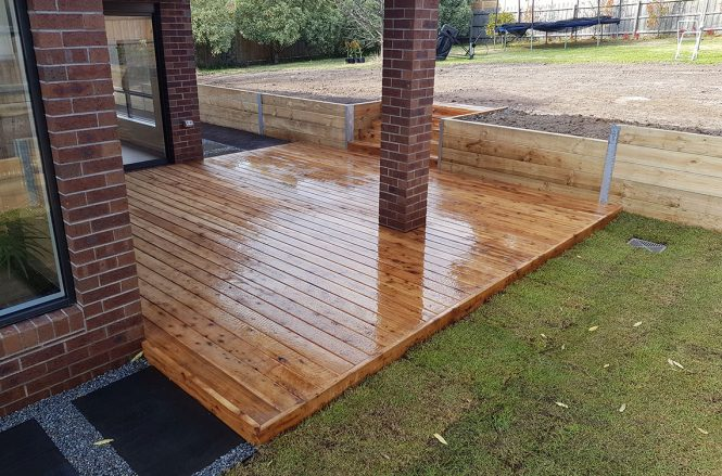 Completed cypress decking area.