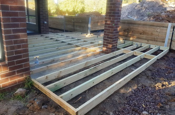 Timber decking sub frame.