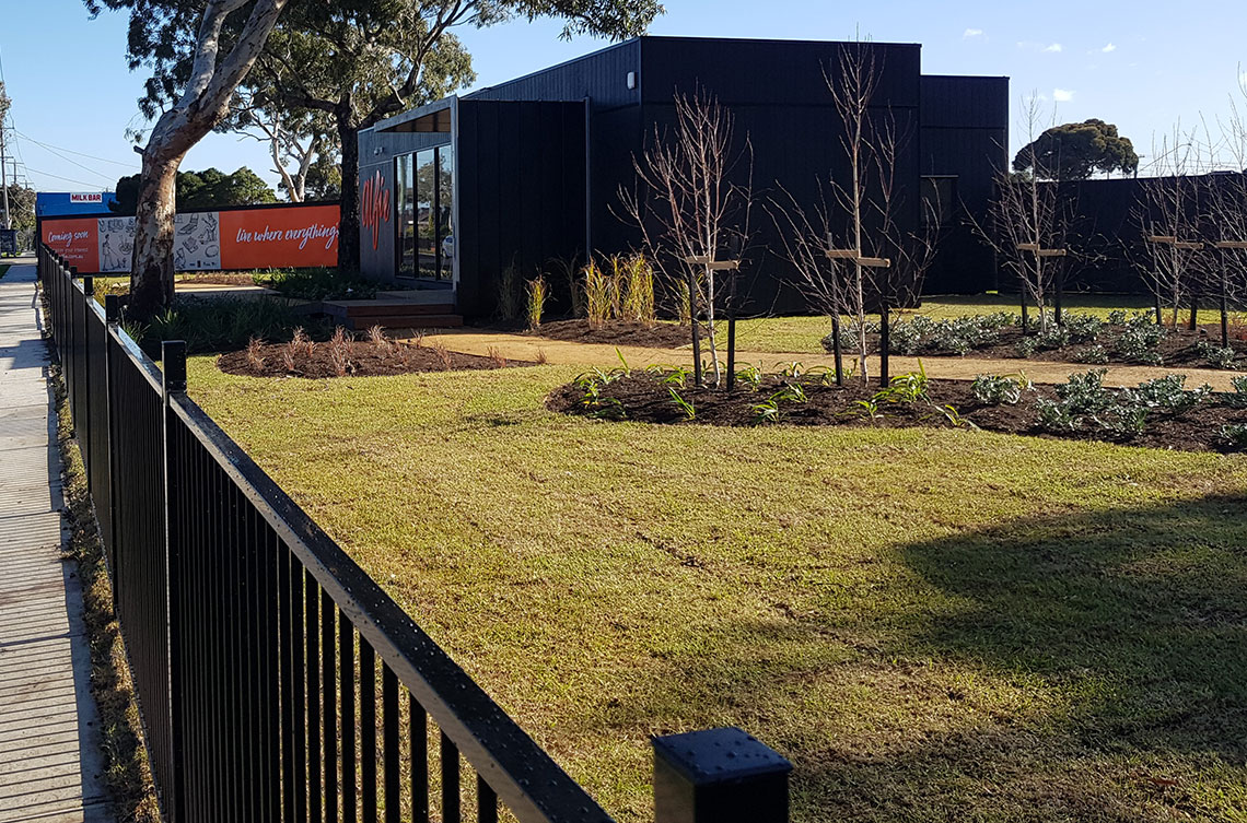 Altona Land Sales Office with Fence Completed